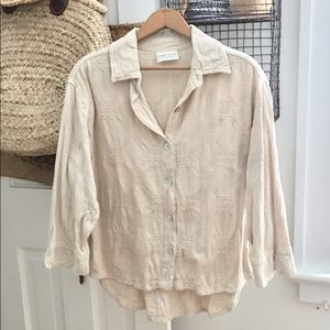 vintage woven button up top